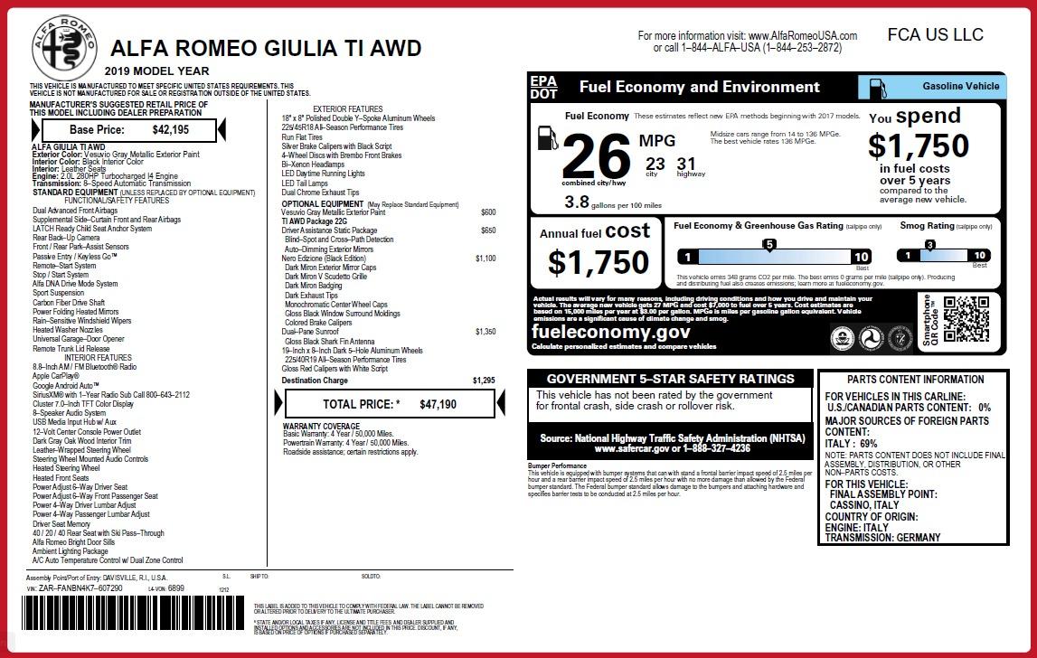 New 2019 Alfa Romeo Giulia Ti Q4 | Greenwich, CT