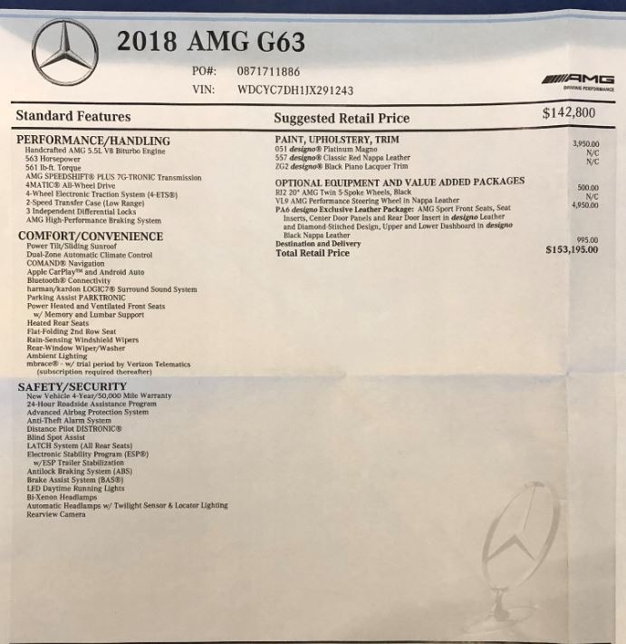 Pre-Owned 2018 Mercedes-Benz G-Class AMG G 63 For Sale